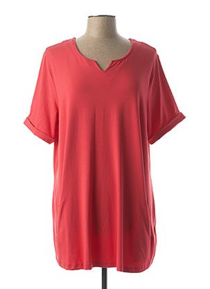 Tunique manches courtes rouge LEAH CURVE pour femme
