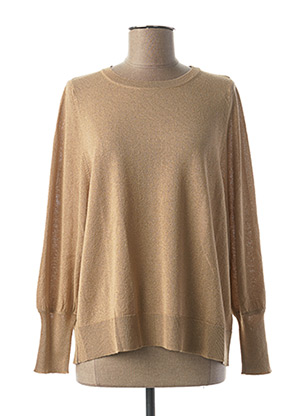 Pull col rond beige SEE THE MOON pour femme