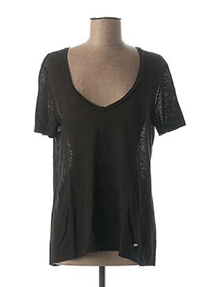 T-shirt manches courtes noir PLEASE pour femme
