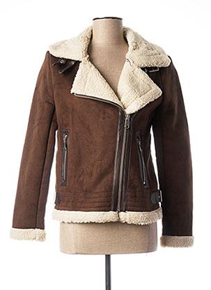 Manteau court marron ONLY pour femme