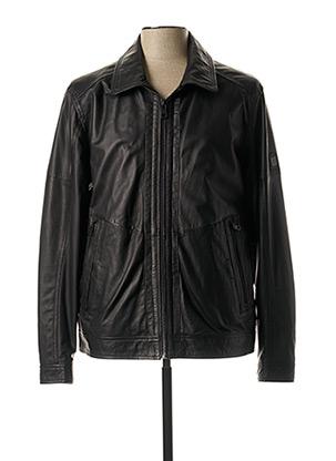 Veste en cuir noir PIERRE CARDIN pour homme