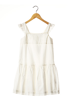 Robe mi-longue blanc PETIT BATEAU pour fille