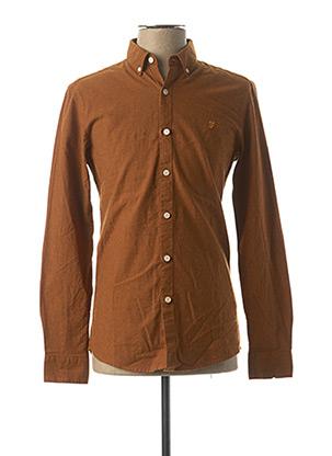 Chemise manches longues orange FARAH pour homme