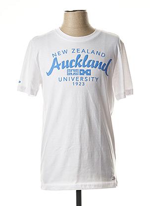 T-shirt manches courtes blanc NEW ZEALAND AUCKLAND pour homme