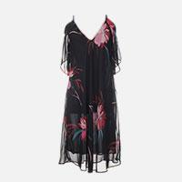 robe noire a fleurs