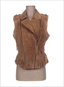 veste marron sans manches a franges
