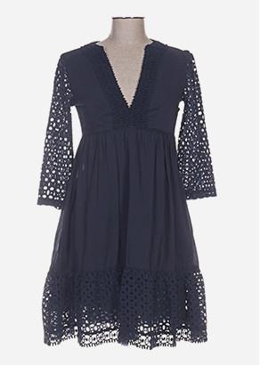 robe bleue marine broderie anglaise