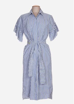 robe chemise rayee blanche et bleue